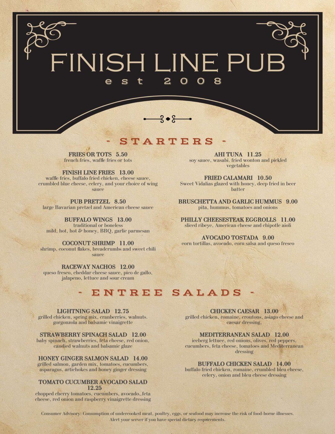 Pub menu1